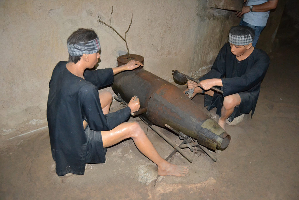 Enemy bombs being cut in half in Cu Chi Tunnels