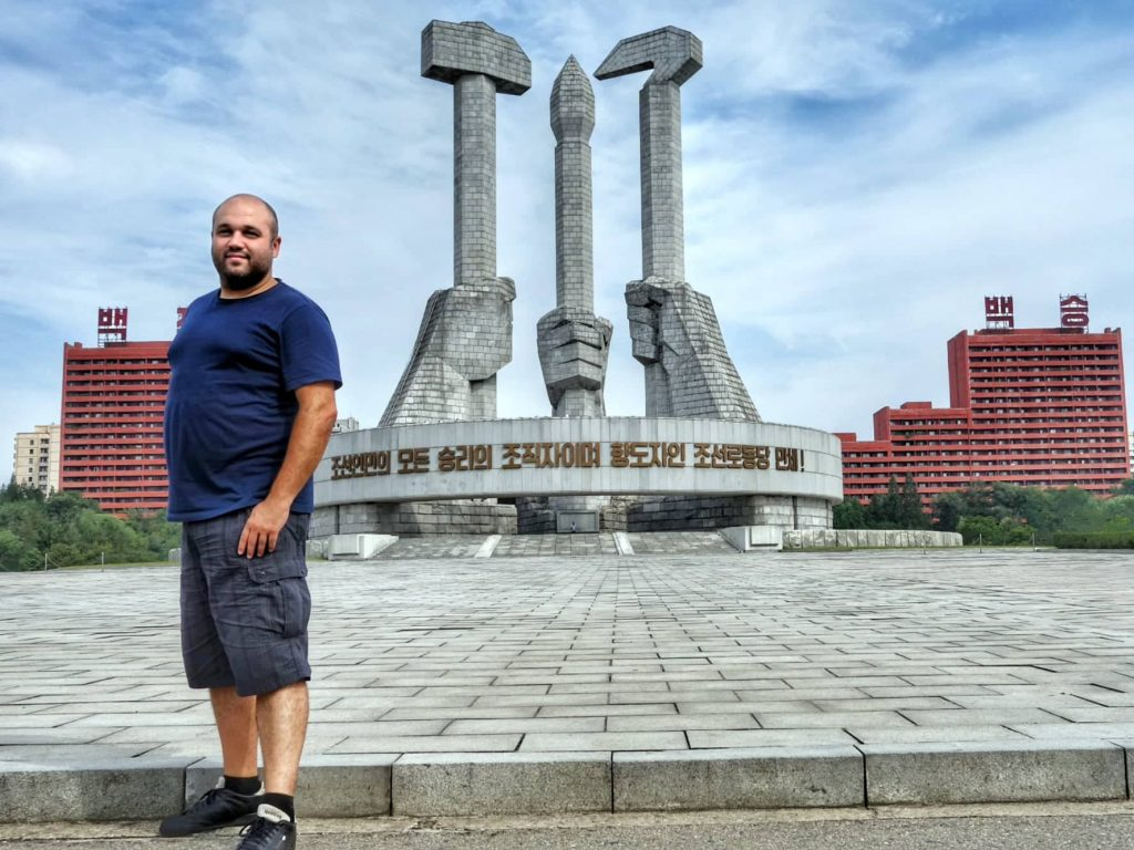 Georgi Mateev in front the Monument to Party Founding in Pyongyang