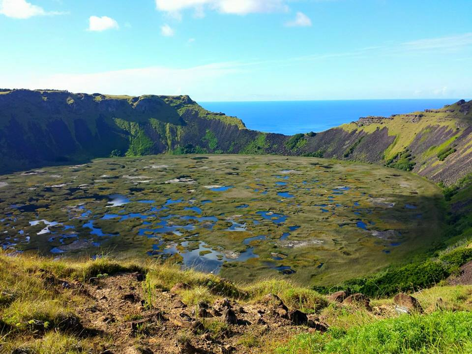 The volcano Rano Kau,  Easter Island